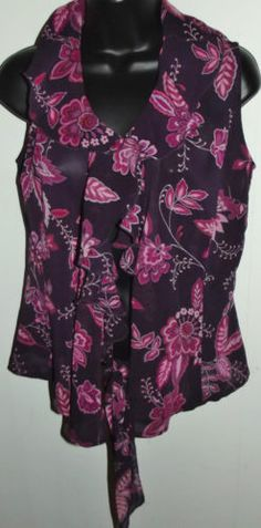 New York & Company Misses Sheer Purple Floral Print Blouse Front Tie Size Medium