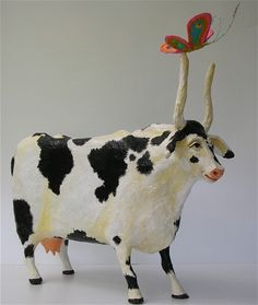 Cow with Butterfly-paper mache/43cm long