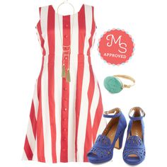 In this outfit: Modern Twirl Dress, Sassy Hour Necklace, Shop the Southwest Ring, Daiquiri Jamboree Heel in Cobalt