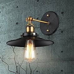 Jinyuze ブラケットライト レトロ インダストリアル 防雨 アイアンシェード 壁付き灯具メタル製ランプシェード 屋外ウォールライト おしゃれ シンプルライト 玄関照明 階段照明 門灯 外灯 壁ライト アンティーク 天井に安装もできます ガーデンライト