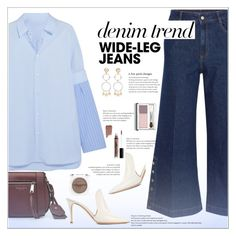 """""""Flare Up: Wide-Leg Jeans"""" by alves-nogueira ❤ liked on Polyvore featuring Gianvito Rossi, STELLA McCARTNEY, Marc Jacobs, Maison Margiela, Eddie Borgo, NYX, Clinique, polyvoreeditorial, denimtrend and widelegjeans"""