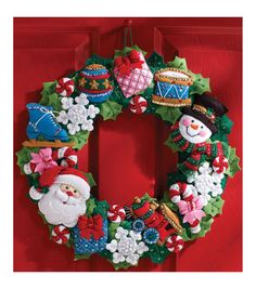 Bucilla Wreath Felt Applique Kit Christmas Toys