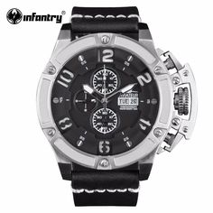 New Mens Army Watches Top Luxury Waterproof Chronograph Watch Day Date Sport Quartz Leather Wrist Watch