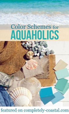 Coastal Seaside Color Schemes & Paint Color Ideas - Coastal color schemes and ocean beach color palettes for aquaholics and beach enthusiasts. Featured on Completely Coastal. Coastal Paint & Room Color Ideas for every Room in the Home. Beach Cottage Style, Beach Cottage Decor, Coastal Cottage, Coastal Style, Coastal Decor, Coastal Living, Cottage Ideas, Cottage Chic, Beach Style Bedroom Decor