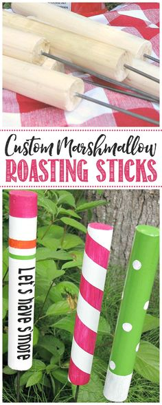 These DIY custom roasting sticks are so fun to make and add some personality to your campfire or s'mores night. Create any pattern or design you'd like! #camping #DIY #campingideas #campingideasforkids #kidscrafts