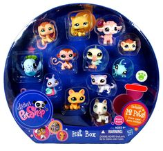Littlest Pet Shop Exclusive Collectible 12 Pack Bobble Head Pets Figure Set - Hat Box with Brown Beagle Puppy (#1664), White Bull Terrier Puppy (#1665), White Lilac Ferret (#1666), Green Gecko (#1667), Brown Guinea Pig (#1668), Orange Kitty Cat (#1669), Pink Baby Lamb (#1670), Brown Baby Monkey (#1671), White Blue Pelican (#1672), Caramel Persian Cat (#1673), Colorful (Pink,Green,Blue and Purple) Snail (#1674) and Blue Whale(#1675). Includes: Brown Beagle Puppy (#1664), White Bull Terrier...