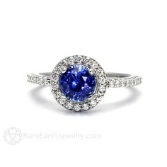 Blue Sapphire Engagement Ring Diamond Halo – Rare Earth Jewelry