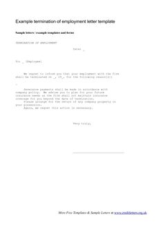 employee termination letter the employee termination letter is a template used by companies to outline