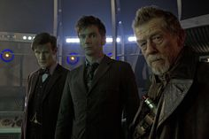 Matt Smith, David Tennant and John Hurt during the anniversary episode of Doctor Who, Day of the Doctor, 2013 Jemma Redgrave, Lorde Hair, Doctor Who 2005, Tenth Doctor, Doctor Who Episodes, Online Nursing Schools, Alex Kingston, Sci Fi Shows, Marvel Films