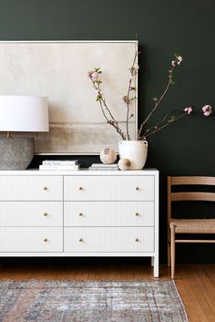 Love the look of the beautiful white dresser against the black wall in this gorgeous space! bedroom ideas - entryway ideas - living room ideas - dining room ideas - sherwin williams iron ore - black wall color Vintage Modern, Modern Vintage Bedrooms, Bedroom Vintage, Modern Bedroom, Master Bedroom, Casual Bedroom, Studio Mcgee, Home Decor Inspiration, Dresser Inspiration