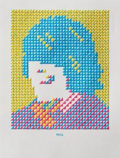 """Paul"" - hand stitched portraits by Evelin Kasikov"