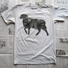 """Finely halftoned print we did for Random Objects - """"Wolf In Sheep's Clothing"""" on silver.  $24.00 #screenprinting #halftones"""