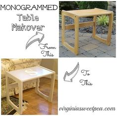 monogrammed table makeover