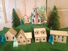 Putz house kit DIY 6 miniature houses van AgedWithThyme op Etsy