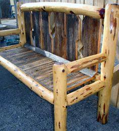 Rustic barn board Bench with cedar tree trim by Glass Moose