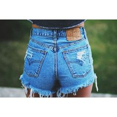 LEVIS High waisted Denim Shorts Destroyed Ripped Jeans Vintage Cut Off... ($31) ❤ liked on Polyvore featuring shorts, cut-off jean shorts, ripped jean shorts, distressed denim shorts, high-waisted jean shorts and ripped denim shorts #rippedjeansdiydistressed
