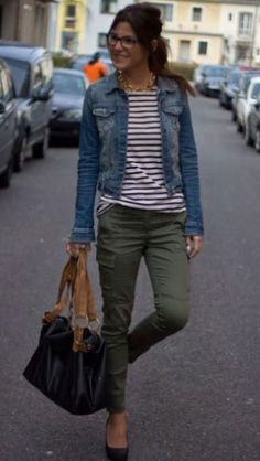 Comfy and soft liverpool jean jacket, striped long sleeved t-shirt and army green pants. Perfect for Fall Stitch Fix. Would like to try olive pants, but like the entire outfit Outfits Casual, Mode Outfits, Fashion Outfits, Womens Fashion, Fashion Hair, Navy Blazer Outfits, Stylish Mom Outfits, Khaki Pants Outfit, Fashion Ideas