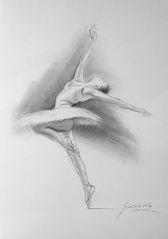 ORIGINAL unframed pencil drawing by Ewa Gawlik NOT a print. BALLERINA MEDIUM: pencil, graphite on WHITE paper MEASUREMENTS OF PAPER: 12 X 8