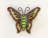 Vintage Sterling Enamel Butterfly Pin / Brooch Mexico