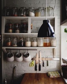 10 Places to Hang a Magnetic Knife Rack Tiny House kitchen inspiration – love open shelves, hanging bar below and, of course, magnetic knife holder Kitchen Dining, Kitchen Decor, Kitchen Jars, Kitchen Shelves, Open Kitchen, Cozy Kitchen, Kitchen Ideas, Open Pantry, Kitchen Display