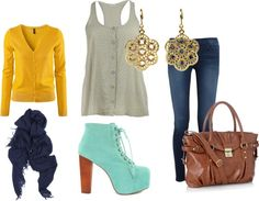 """mustard, navy and aqua"" by dreamer-dx on Polyvore"