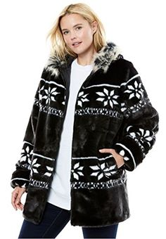 56d8cbdb9 This plus size jacket with faux fur is the epitome of winter comfort and  ease. straight silhouette is cling-free, offering ample room to move about