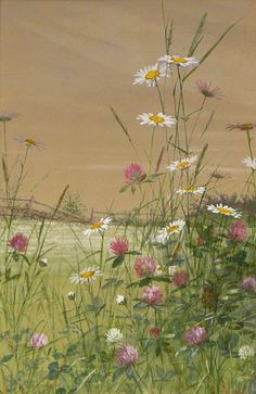 Antiques & Fine Art - Hawthorne Fine Art, LLC - Daisies and Thistles