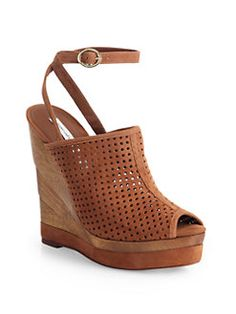 Diane von Furstenberg - Paris Perforated Suede Wedge Sandals