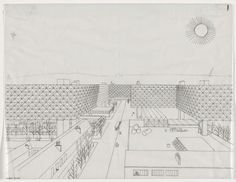Spatial City, Elevated Blocks, project, Paris, France, Perspective Yona Friedman