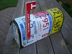 Recycled license plate mailbox by jamesnichols on Etsy, $85.00