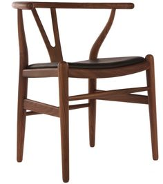 Donnan Wishbone Armchair With Upholstered Seat Brown