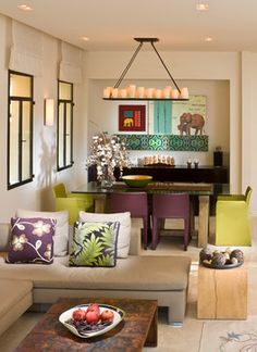 This Complementary room uses a yellow green hue with a red violet hue.  These light values are cheerful and laid back.