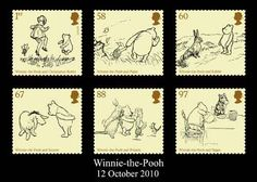Whimsical Winnie-the-Pooh postage stamp set from Royal Mail UK.