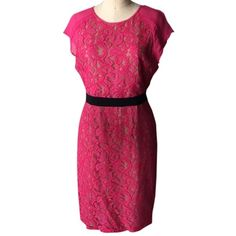 Pre-owned Bcbgmaxazria Dress ($172) ❤ liked on Polyvore featuring dresses, pink, bcbgmaxazria dress, lace dress, zip dress, see through dress and purple dress