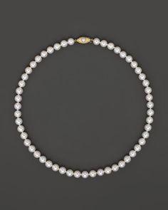 Cultured Akoya 7mm Pearl Strand Necklace in 14K Yellow Gold, 16""