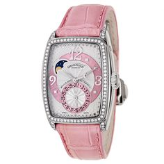 Armand Nicolet Women's Pink Diamond Accented Stainless Steel Mother of Pearl Dial Automatic Watch