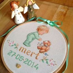 Baby Cross Stitch Patterns, Cross Stitch Baby, Baby Room Design, Personalized Baby, Embroidery Stitches, Baby Boy, Kids Rugs, Children, Handmade