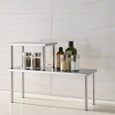 Cook N Home 2-Tier Counter Storage Shelf, Stainless Steel, Silver