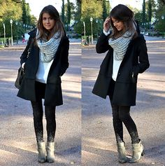 great look for winter. Love ankle boots. The coat is great with the wrap scarf.