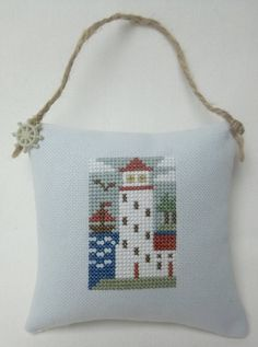 Lighthouse Nautical Cross Stitch Ornament Door Pillow by luvinstitchin4u on Etsy