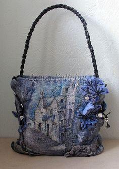 Felting blue purse fantasy
