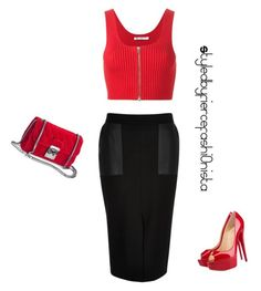 """""""Red"""" by fiercefashi0nista on Polyvore featuring T By Alexander Wang, River Island and Christian Louboutin"""