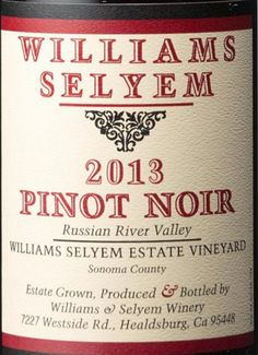 2013 Williams Selyem Pinot Noir Estate Vineyard