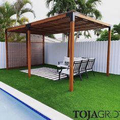 Wow, what a statement this makes! An absolutely beautiful build sent in by Alex of his TOJA GRID Modular Pergola System. Make sure to enjoy it this summer Alex, it looks amazing! Cedar Pergola Kits, Aluminum Pergola, Vinyl Pergola, Wooden Pergola, Garden Structures, Outdoor Structures, Casa Patio, Building A Pergola, Outdoor Living Areas