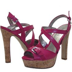 http://fbfanpages.us/pinnable-post/guess-dark-pink-cork-high-heel-sandals-ryann/ Neon brights turn up the heat on whatever you wear and a cork construction makes these shoes warm-weather ready.  Slide them on and buckle 'em up for a fun-with-colors finish.