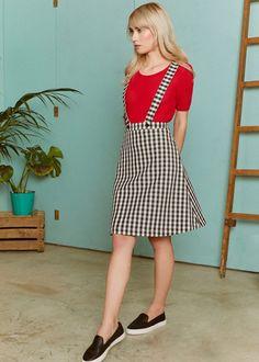 cd10351f43 Pichi falda en poliéster elástico de vichy blanco y negro Puedes usarlo con  o sin