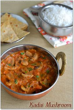 Kadai Mushroom Masala Serves 2. Serve with chapathis or rice.  Cleaned Mushroom - 1 cup chopped Bell pepper - 1 chopped Onion - 1 chopped finely Tomato puree - from 3 small sized tomatoes Jeera - 1 tsp Red chilli powder - 1/2 tsp Coriander powder - 1/2 tsp Garam masala powder Ginger garlic paste - 1 tbsp Kasuri methi / Dried fenugreek leaves - 1/2 tsp Red Chillies - 1 Coriander leaves - 2 tsp chopped finely Oil - 3 tsp Salt- to taste