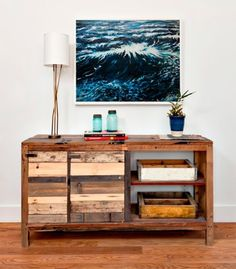 Recycled wood tables with shelves and drawers