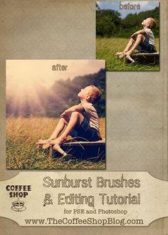 Free photoshop/pse sunburst brush and tutorial