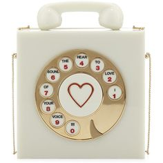 Charlotte Olympia Chatterbox Phone Box Clutch, Vanille